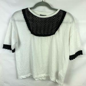 Topshop blouse sweater 8 white black crochet lace